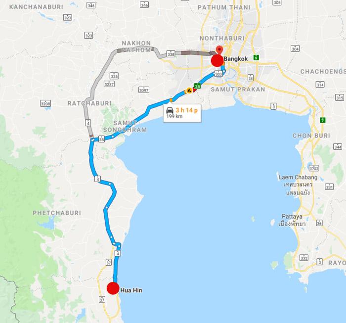 Khoảng cách Bangkok - Huahin trên bản đồ