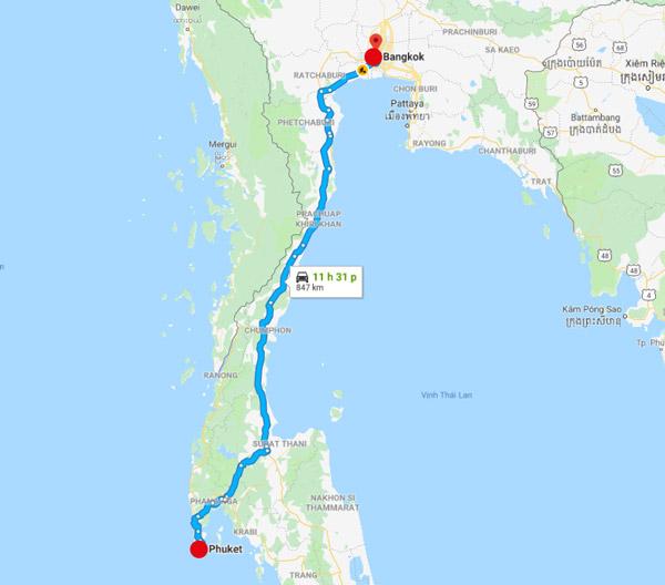 Khoảng cách từ Bangkok đi Phuket